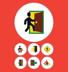 flat icon door set of evacuation fire exit vector image vector image