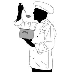 Kitchen chef tasting soup vector