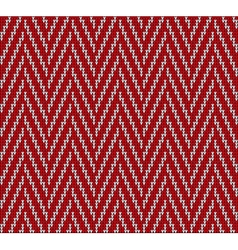 Knitting pattern sweater line red vector