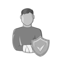 Man with broken arm and shield with tick icon vector image vector image