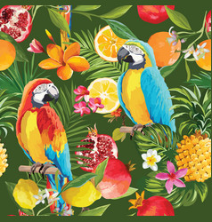 seamless tropical fruits and parrot pattern vector image vector image