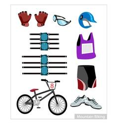 Set of Mountain Bike Equipment on White Background vector image vector image