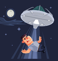 ufo tries abduct man characters vector image vector image