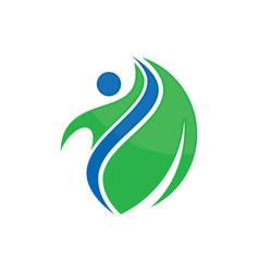 beauty happy leaf logo image vector image vector image