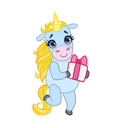 Cartoon light blue unicorn standing with gift box vector