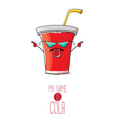 funny cartoon cute red paper cola cup with vector image vector image