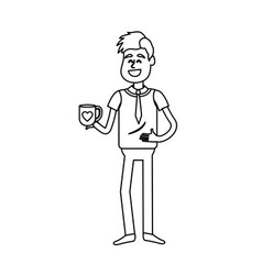 Line man with coffee cup in his hand and elegant vector