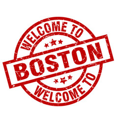 welcome to boston red stamp vector image vector image