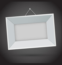 white photo frame on dark background vector image