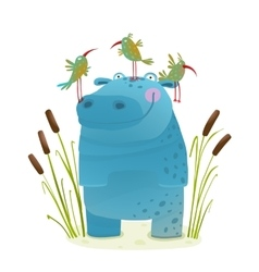 Wildlife hippo with cute birds smiling kids vector