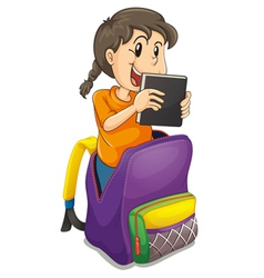 a girl in the school bag vector image vector image