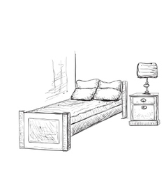 Bedroom doodles interior sketch vector image