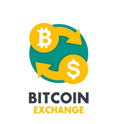 bitcoin to dollar exchange icon on white vector image vector image