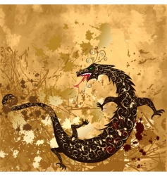 dragon on a background grunge vector image vector image