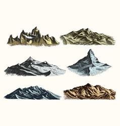 mountains peaks set vintage old engraving in hand vector image