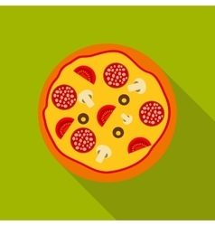 Pizza Flat Icon with Long Shadow vector image