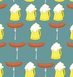 Sausage and beer seamless pattern Symbol of German vector image