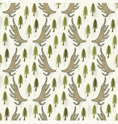 seamless pattern with pine trees and horns hand vector image vector image