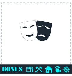 Comedy and tragedy theatrical masks icon flat vector image vector image