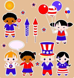 Fourth of July Children vector image