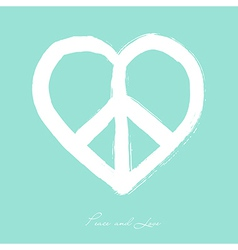 Isolated heart shape peace symbol brush style vector image
