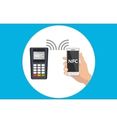 Mobile pos terminal Paypass NFC technology vector image vector image