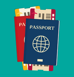 passport with tickets icon isolated on background vector image