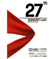 27 anniversary design with big red ribbon vector