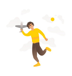 a boy or teenager plays with a toy plane in vector image