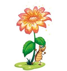 A cockroach under the flower vector