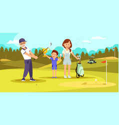 Aged concentrated man shooting golf ball at course vector