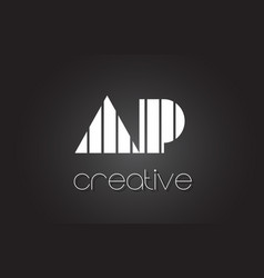 Ap a p letter logo design with white and black vector