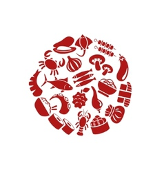 Asian food icons in circle vector