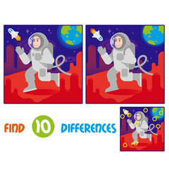 Astronaut on mars find 10 differences vector