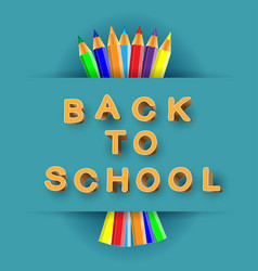 back to school 3d text and pencils vector image