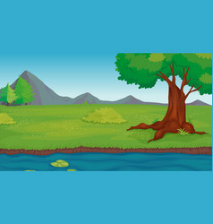 Background scene with tree in park vector
