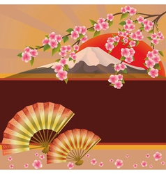 Background with fan mountain and sakura blossom vector