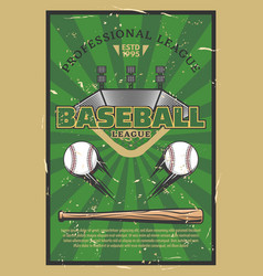Baseball game stadium field with balls and bat vector