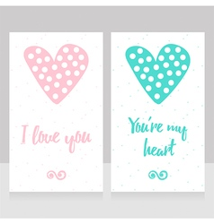 Beautiful hand drawn love cards with dotted hearts vector