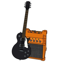 Black electric guitar and the combo vector