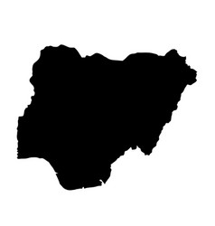 black silhouette country borders map of nigeria vector image