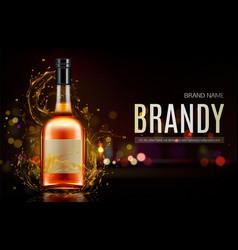 brandy bottle mockup banner closed blank flask vector image