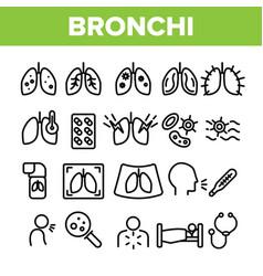 Bronchitis allergic asthma symptoms linear vector