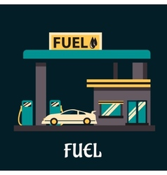 Car at gas station in flat style vector image