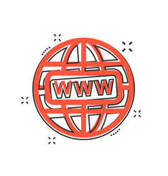 Cartoon go to web icon in comic style globe world vector