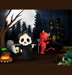 cartoon of grim reaper and red devil outdoors in t vector image