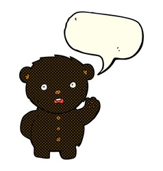 Cartoon unhappy black teddy bear with speech vector