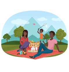 Cheerful african family vector