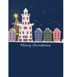 Christmas night in our small town vector image