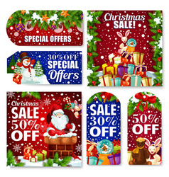 Christmas sale tag and new year discount card vector